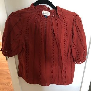 Crimson red lace puff sleeve blouse size xs